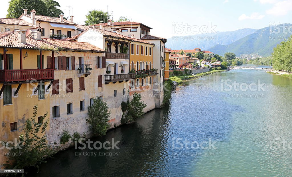 House of the city of Bassano City in Italy stock photo