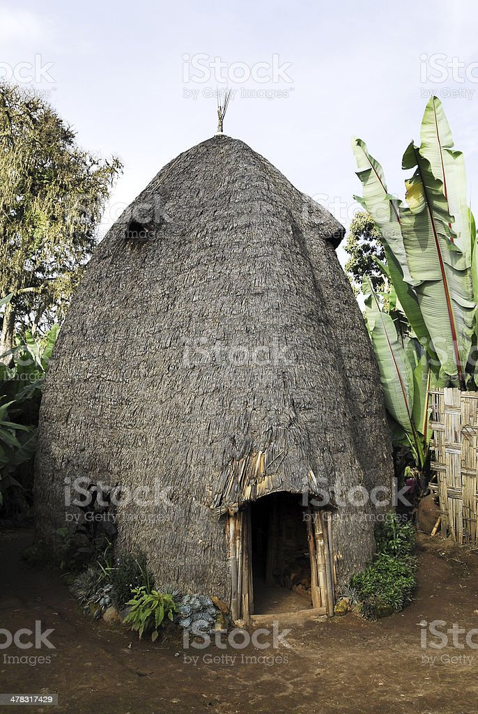 House of the Dorze people, Ethiopia royalty-free stock photo