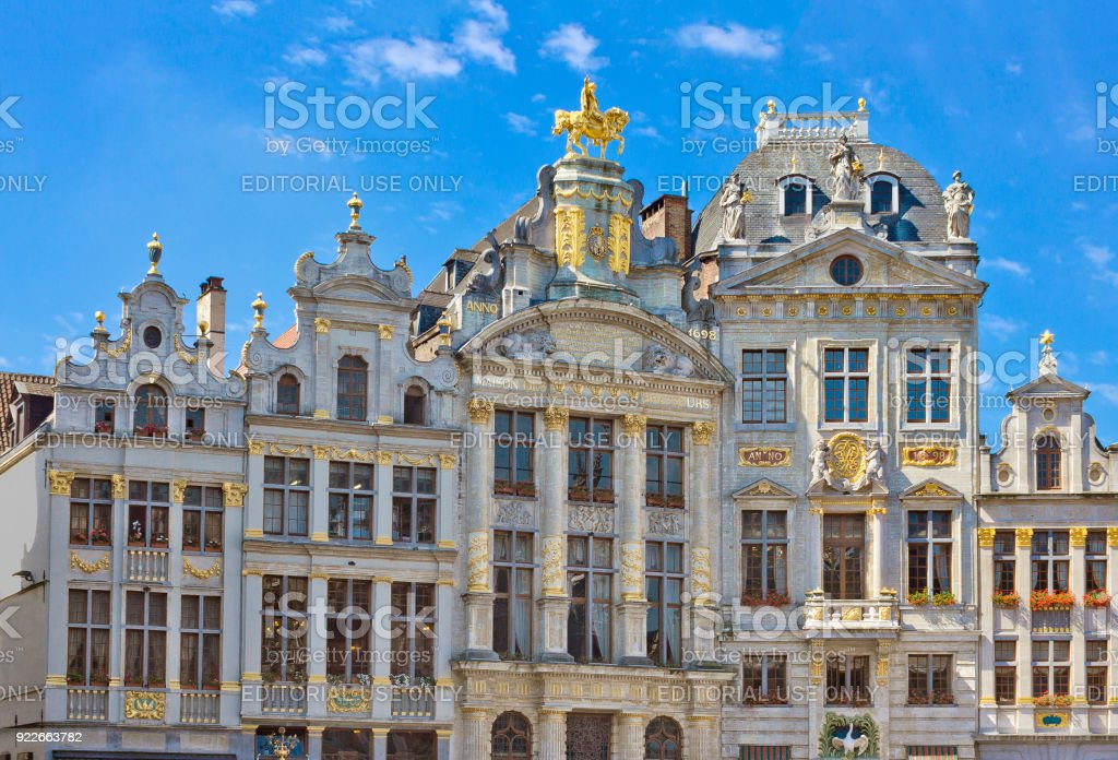 House of the Golden Tree or House of Brewers at Grand-Place in Brussels, Belgium stock photo