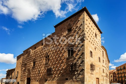 Casa de la Conchas (House of Shells) in Salamanca, Spain. The old city of Salamanca was declared a UNESCO World Heritage site in 1988.