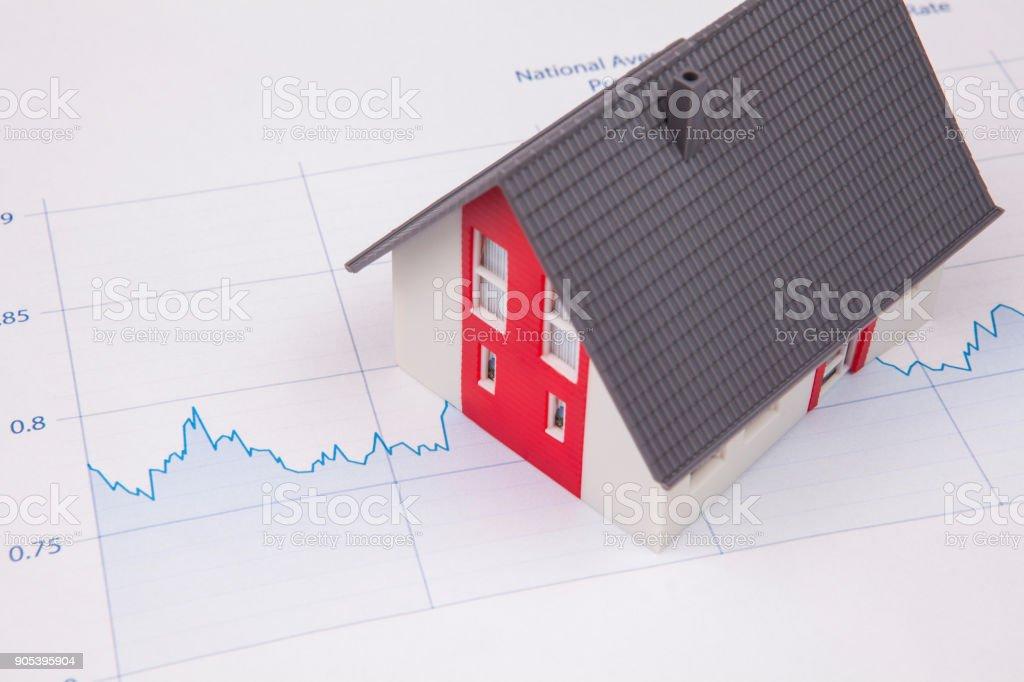 Maison sur un graphe financière photo libre de droits