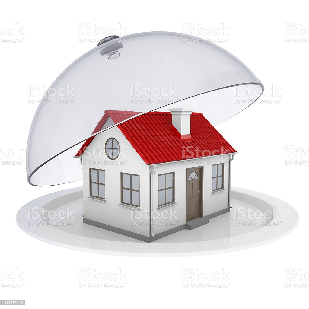 House on a plate with glass cover royalty-free stock photo