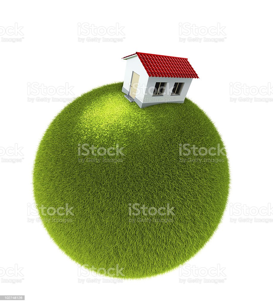 house on a small green planet royalty-free stock photo