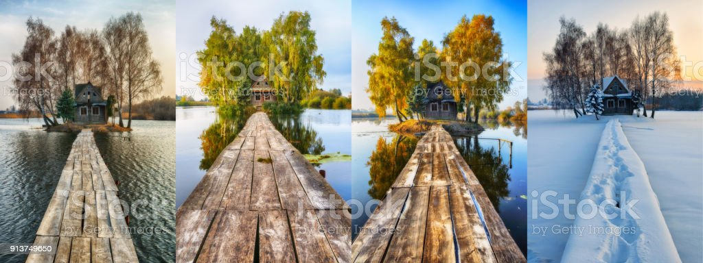 house on a small island. four seasons. a picturesque hut in all seasons stock photo