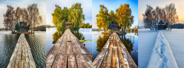 house on a small island. four seasons. a picturesque hut in all seasons house on a small island. four seasons. a picturesque hut in all seasons four seasons stock pictures, royalty-free photos & images