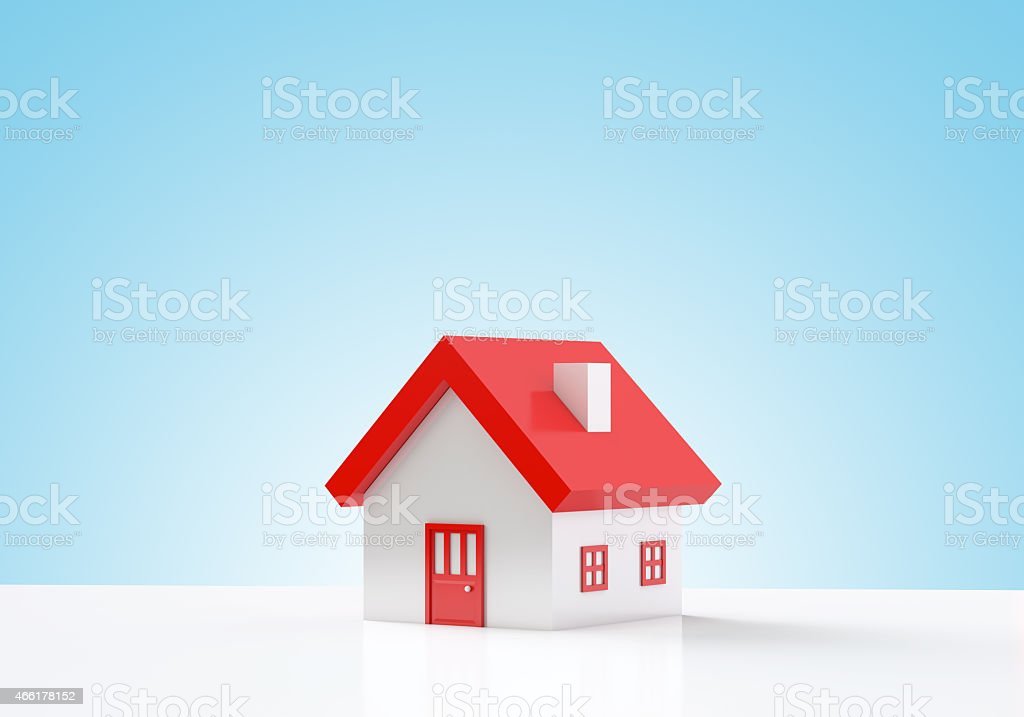 House on blue background stock photo
