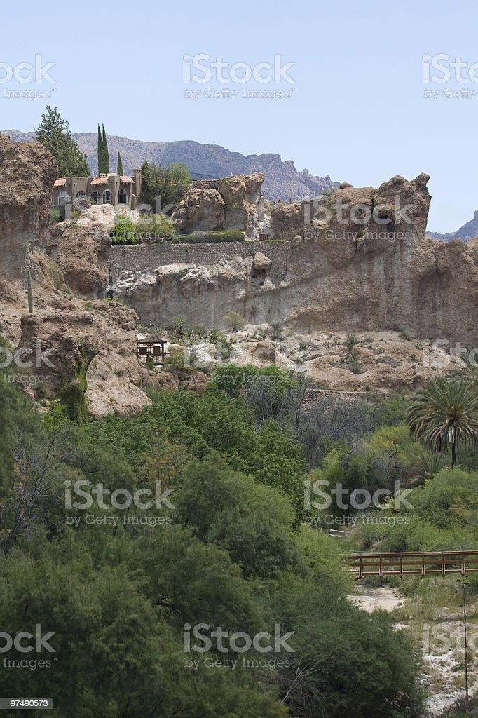 House on Desert Cliff royalty-free stock photo
