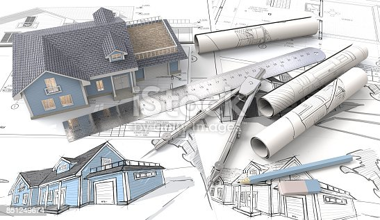 istock 3D House on Design Sketches and Blueprints. 851249674
