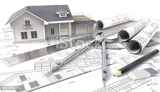istock 3D House on Design Sketches and Blueprints. 851251878