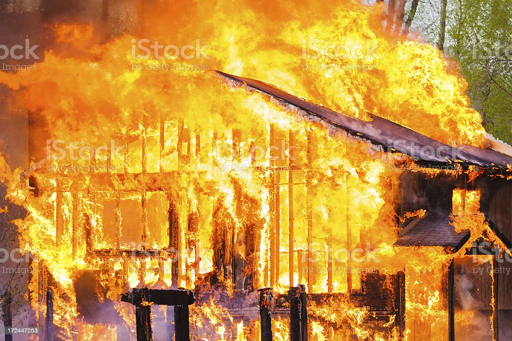 House on Fire Burning Inferno stock photo