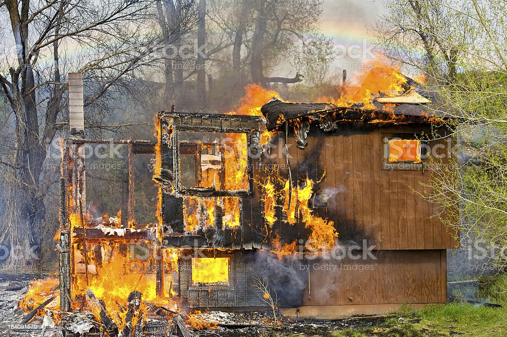 House on Fire Charred Remains stock photo
