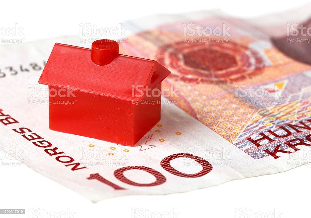 House on Norwegian banknote stock photo