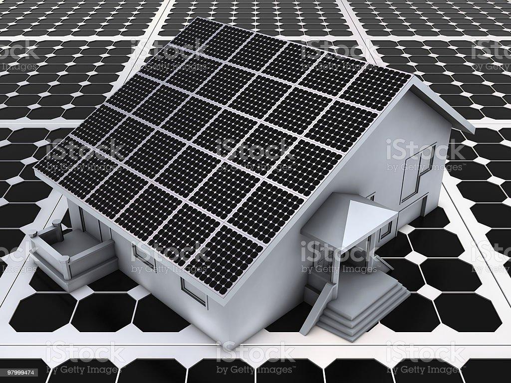House on solar panels royalty-free stock photo