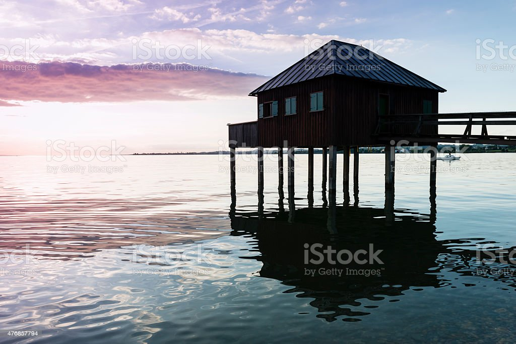 House on stilt on sunset at Lake Constance (Bodensee). stock photo