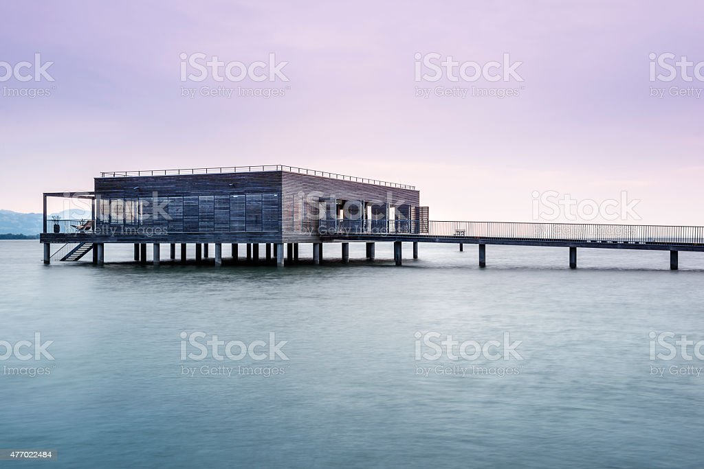 House on stilts on the Costance lake (Bodensee). stock photo
