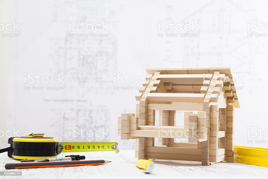 House on the blueprints foto de stock royalty-free