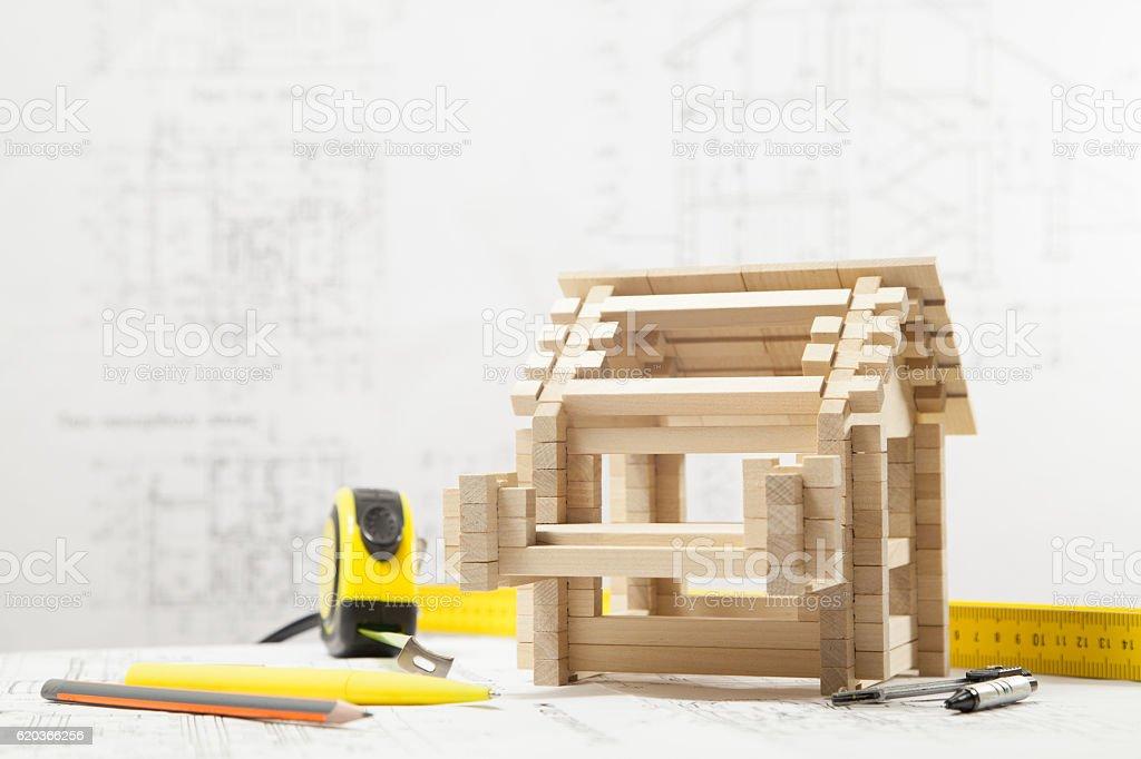 House on the blueprints zbiór zdjęć royalty-free