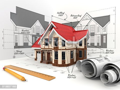 istock House on the drafts in different projections and blueprints. 515657165