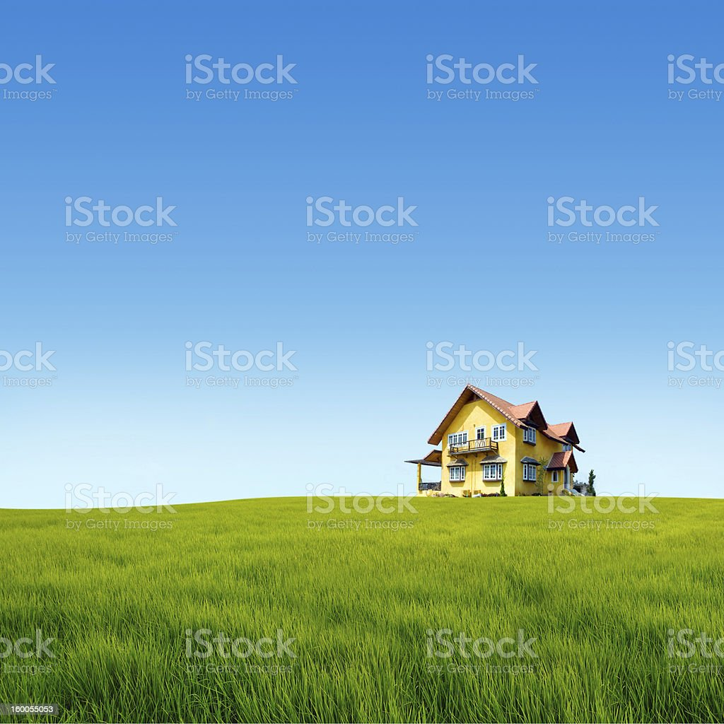 House on the grass field stock photo
