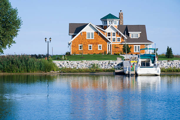 house on the harbor - lake michigan stock pictures, royalty-free photos & images