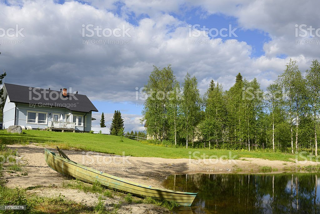 House on the little lake royalty-free stock photo