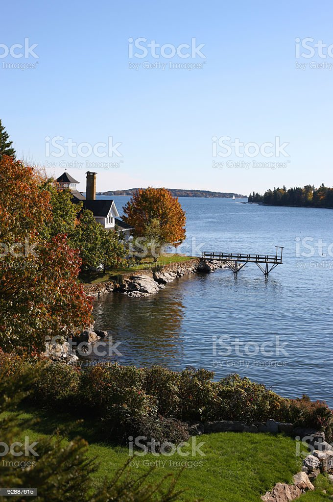 House on the river with harbor view. For Sale foreclosure. stock photo