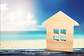 house on the sea, resort real estate, sandy beach, vacation, warm countries, hot tours, sea and ocean coast, place for text,