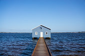 Perth, Australia - September 30th, 2018: A house on the Swan river that call Blue Boat House