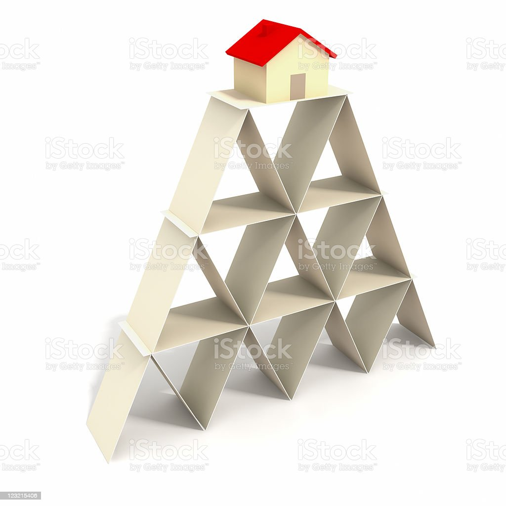 House on the tower of cards. stock photo