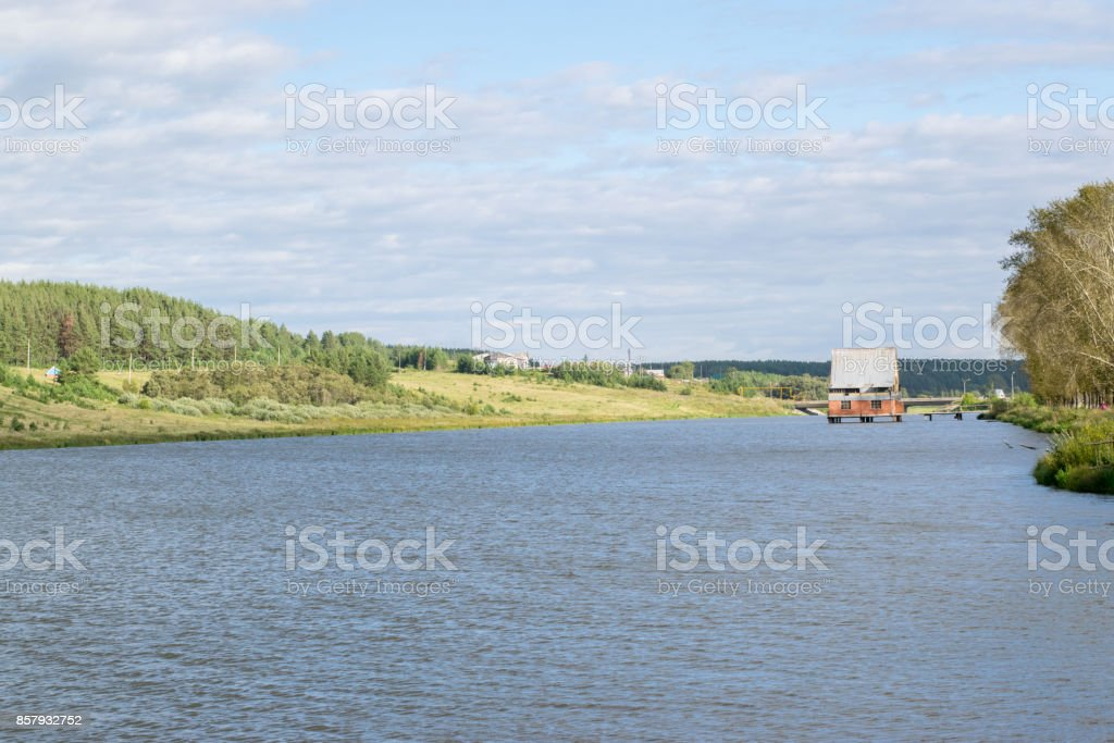 House on water at the Urals stock photo