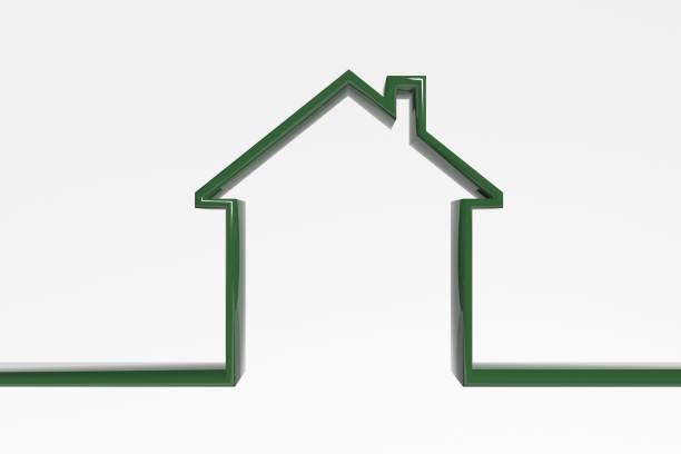 3d. 房屋輪廓。綠色高效的房子圖示。房子的象徵 - 外型 個照片及圖片檔