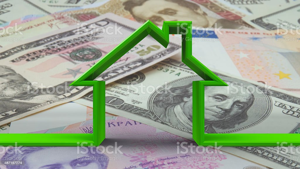 House outline on money background stock photo