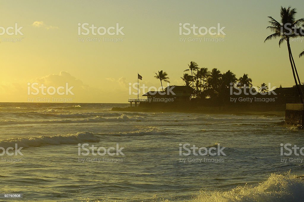 House overlooking the Pacific Ocean in Oahu stock photo