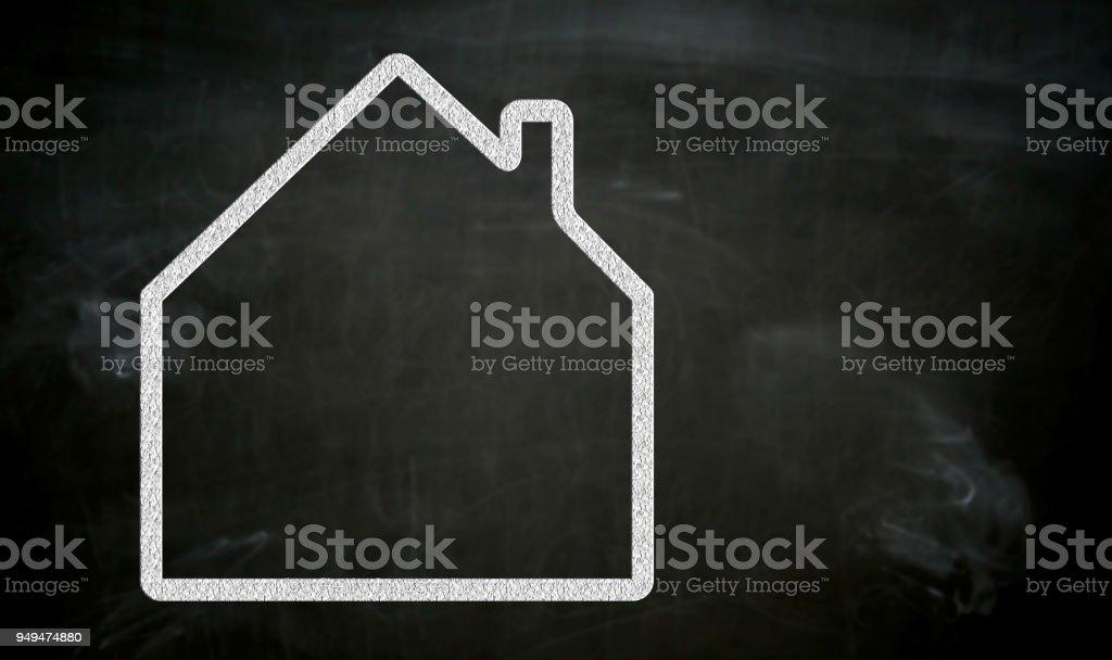 Haus malte mit Kreide auf die Tafel-Konzept – Foto