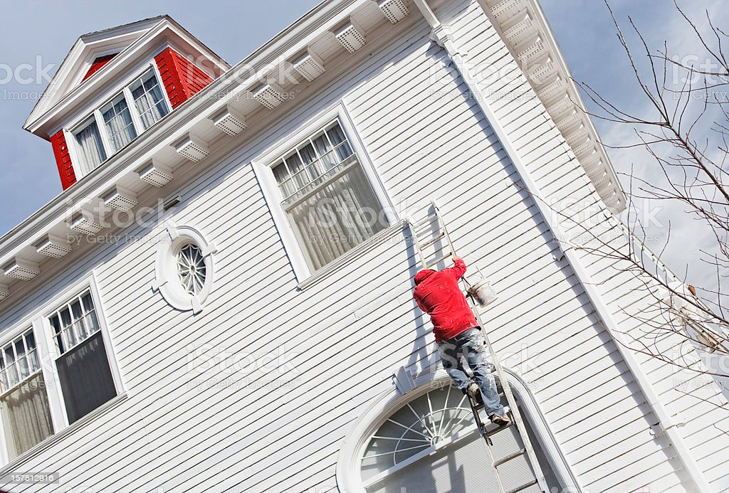 House Painter on a Ladder royalty-free stock photo