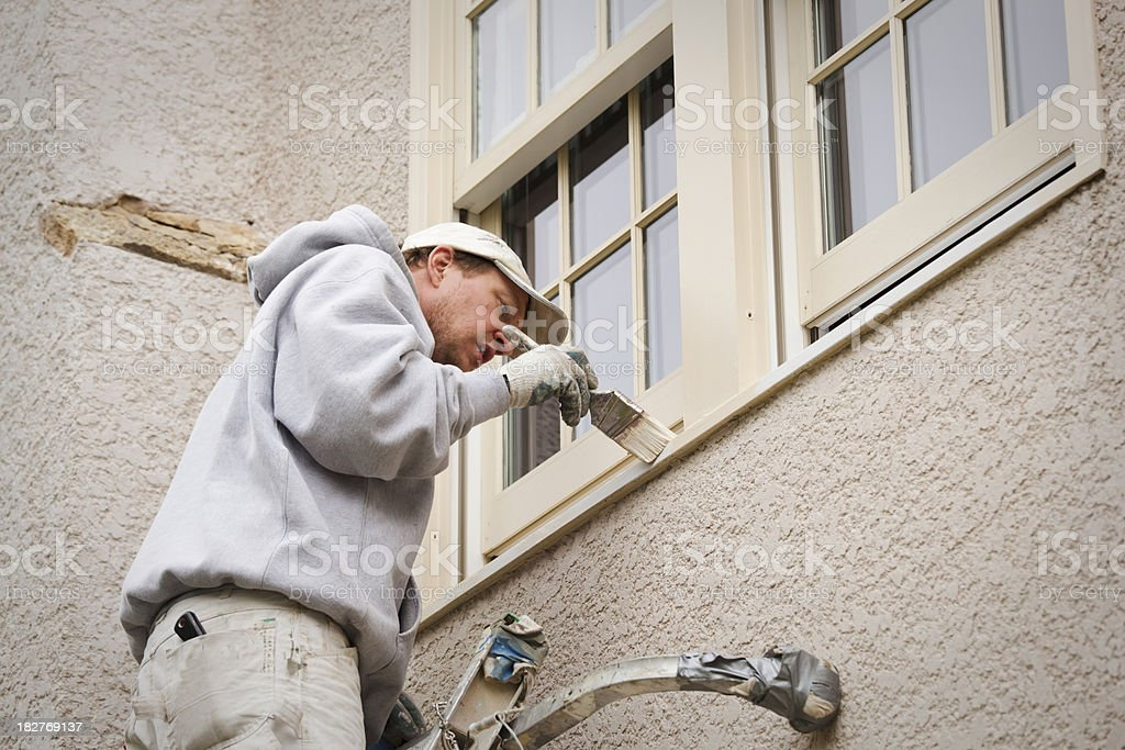House Painter On Ladder Painting Exterior Window Trim Hz