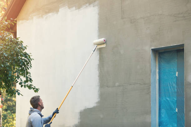 målare målning byggnaden exteriör med rollern - fasad bildbanksfoton och bilder