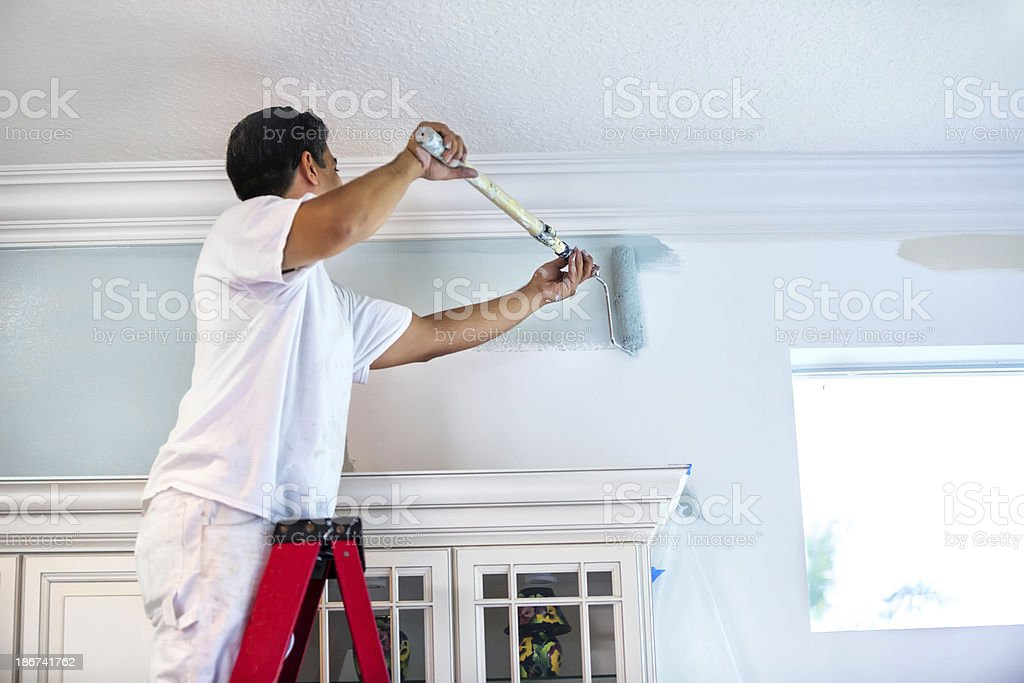 House Painter Painting Residential Home Interior Stock Photo