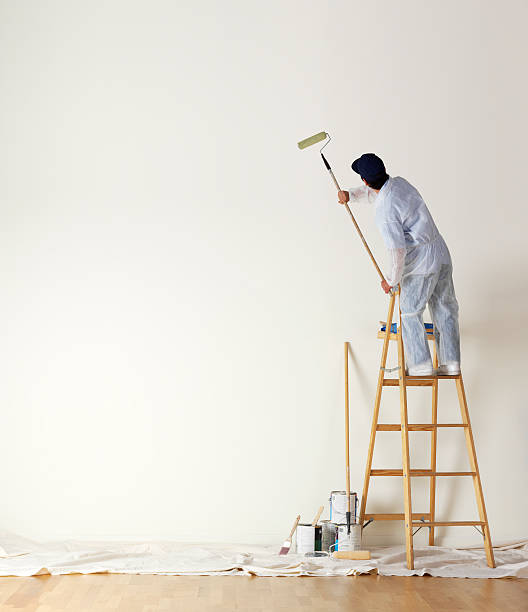 house painter standing on ladder painting a large wall - painting wall bildbanksfoton och bilder