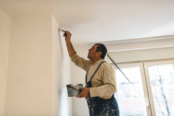House Painter with the Paint Brush is Painting the White Wall stock photo