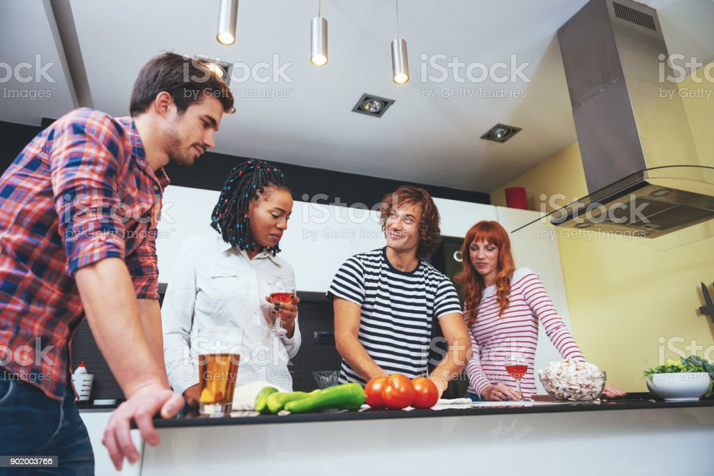 House party with friends in Germany stock photo