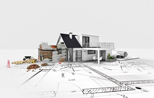 Modern house architecture design work