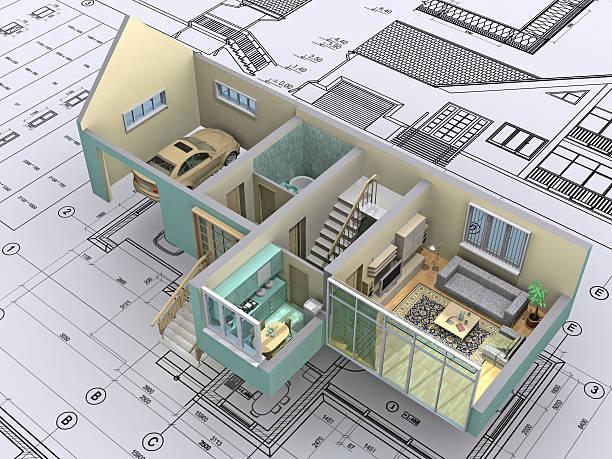 house. - fassadenschnitt stock-fotos und bilder