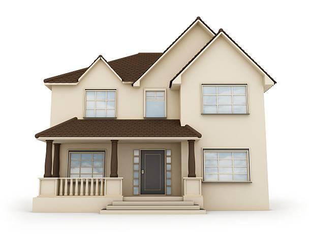 house - isolated house, exterior imagens e fotografias de stock