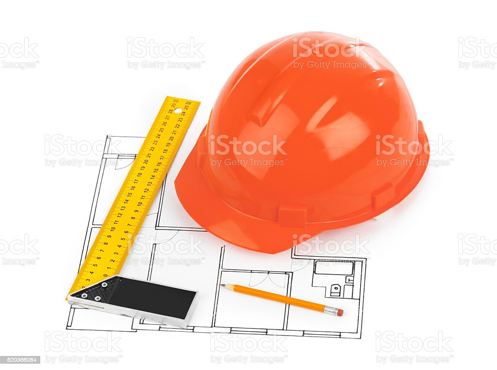 House plan and helmet zbiór zdjęć royalty-free