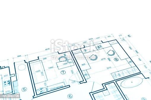 istock house plan blueprint, construction plan, part of architectural p 532860706