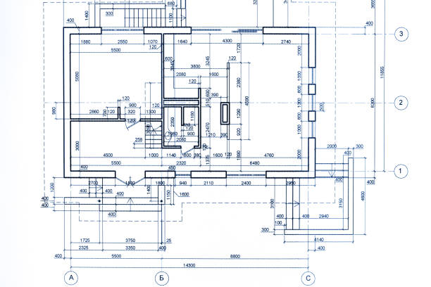 house plan blueprint. part of architectural project. technical drawing. stock photo
