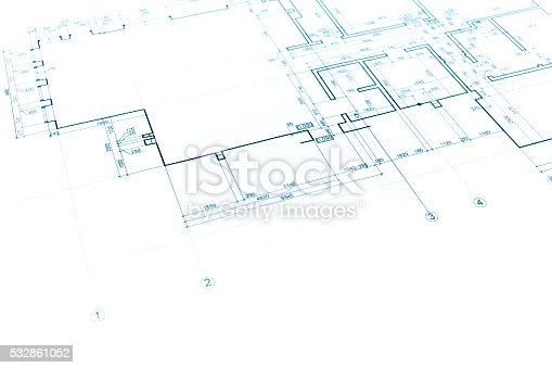 istock house plan blueprint, technical drawing, part of architectural p 532861052