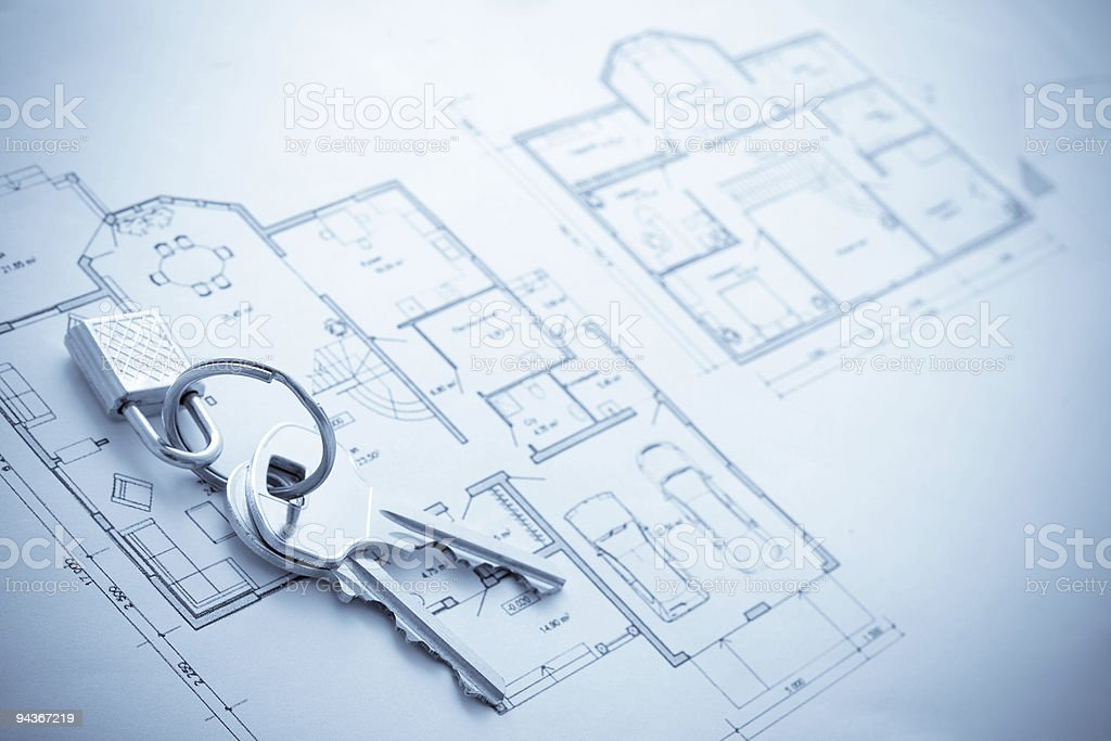House plan blueprint with keys royalty-free stock photo