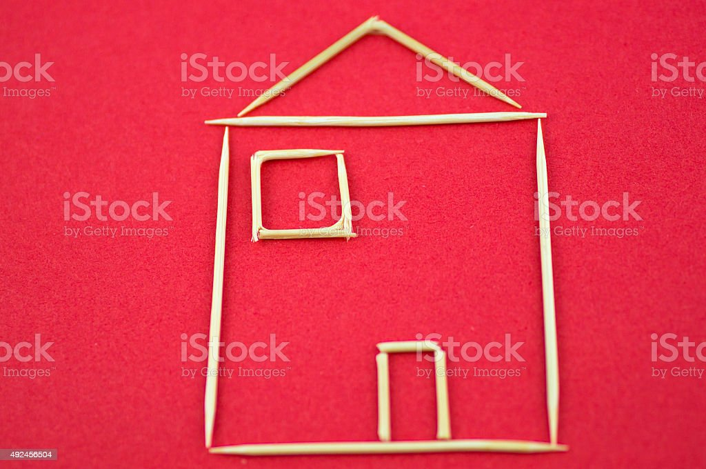 House plan made by tootpick stock photo
